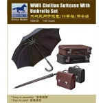 WWII Civilian Suitcase w. Umbrella Set - Bronco 1/35