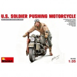 U.S. Soldier Pushing Motorcycle - MiniArt 1/35