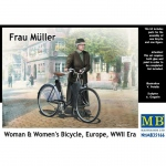 Frau Müller. Woman & Womans Bicycle, Europe WWII Era -...