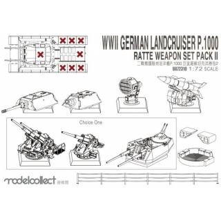 Landcruiser P.1000 Ratte Weapon Set Pack II - Modelcollect 1/72
