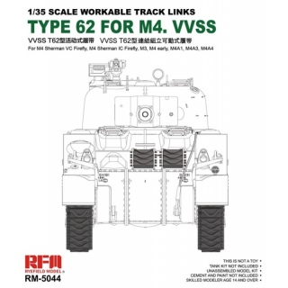 Workable Track Links Type 62 for M4 VVSS - Rye Field Model 1/35
