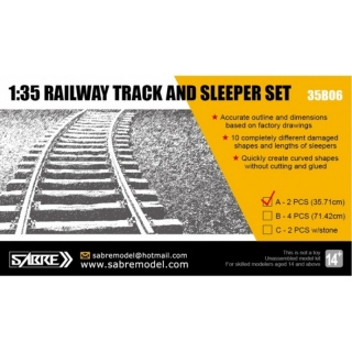 Railway Track and Sleeper Set (35.71cm Straight/Curved rail) - Sabre Model 1/35